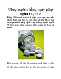 Uống aspirin hằng ngày giúp ngừa ung thư