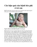 Các hậu quả của bệnh béo phì ở trẻ em