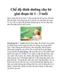Chế độ dinh dưỡng cho bé giai đoạn từ 1 - 3 tuổi