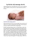 Lợi ích từ việc massage cho bé