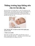 Những trường hợp không nên cho trẻ bú sữa mẹ
