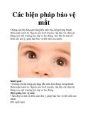 Các biện pháp bảo vệ mắt