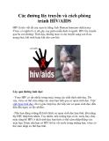 Các đường lây truyền và cách phòng tránh HIV/AIDS