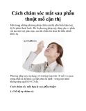 Cách chăm sóc mắt sau phẫu thuật mổ cận thị