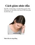 Cách giảm nhức đầu