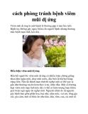 cách phòng tránh bệnh viêm mũi dị ứng