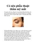 Có nên phẫu thuật thẩm mỹ mắt