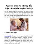 Nguyên nhân và những dấu hiệu nhận biết huyết áp thấp