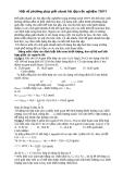 Một số phương pháp giải nhanh bài tập trắc nghiệm THPT Để giải nhanh các bài