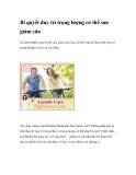 Bí quyết duy trì trọng lượng cơ thể sau giảm cân