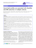 """báo cáo hóa học: """" Serum lipid profiles are associated with disability and MRI outcomes in multiple sclerosis"""""""