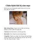 Chữa bệnh khi bị cảm mạo