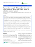 """báo cáo hóa học: """"  Comparative analysis of induced sputum and bronchoalveolar lavage fluid (BALF) profile in asbestos exposed workers"""""""