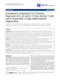 """o cáo hóa học:""""  Complement component C5a Promotes Expression of IL-22 and IL-17 from Human T cells and its Implication in Age-related Macular Degeneration"""""""