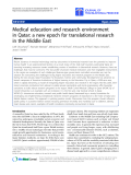 """báo cáo hóa học:"""" Medical education and research environment in Qatar: a new epoch for translational research in the Middle East"""""""