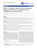 "báo cáo hóa học:"" Alpha-1 antitrypsin protein and gene therapies decrease autoimmunity and delay arthritis development in mouse model"""