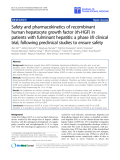"báo cáo hóa học:"" Safety and pharmacokinetics of recombinant human hepatocyte growth factor (rh-HGF) in patients with fulminant hepatitis: a phase I/II clinical trial, following preclinical studies to ensure safety"""