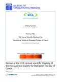 "báo cáo hóa học:"" Review of the 25th Annual Scientific Meeting of the International Society for Biological Therapy of Cancer (now the Society for Immunotherapy of Cancer)"""