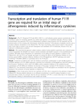 "o cáo hóa học:"" Transcription and translation of human F11R gene are required for an initial step of atherogenesis induced by inflammatory cytokines"""