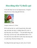 Hoa đăng tiêu-Vị thuốc quí