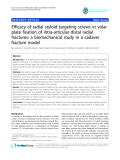 "báo cáo hóa học:""  Efficacy of radial styloid targeting screws in volar plate fixation of intra-articular distal radial fractures: a biomechanical study in a cadaver fracture model"""