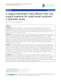 """báo cáo hóa học:""""  Is surgical intervention more effective than nonsurgical treatment for carpal tunnel syndrome? a systematic review"""""""