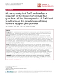 """báo cáo hóa học:""""  Microarray analysis of Foxl2 mediated gene regulation in the mouse ovary derived KK1 granulosa cell line: Over-expression of Foxl2 leads to activation of the gonadotropin releasing hormone receptor gene promoter"""""""
