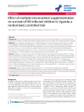 """báo cáo hóa học:""""  Effect of multiple micronutrient supplementation on survival of HIV-infected children in Uganda: a randomized, controlled trial"""""""
