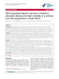 """báo cáo hóa học:"""" AIDS-associated Kaposi's sarcoma is linked to advanced disease and high mortality in a primary care HIV programme in South Africa"""""""