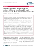 "báo cáo hóa học:"" Increased vulnerability of rural children on antiretroviral therapy attending public health facilities in South Africa: a retrospective cohort study"""