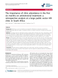 "báo cáo hóa học:""  The importance of clinic attendance in the first six months on antiretroviral treatment: a retrospective analysis at a large public sector HIV clinic in South Africa"""
