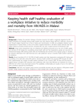 "báo cáo hóa học:"" Keeping health staff healthy: evaluation of a workplace initiative to reduce morbidity and mortality from HIV/AIDS in Malawi"""