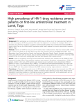 """báo cáo hóa học:"""" High prevalence of HIV-1 drug resistance among patients on first-line antiretroviral treatment in Lomé, Togo"""""""
