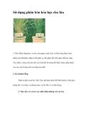 Sử dụng phân bón hóa học cho lúa