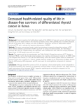 "báo cáo hóa học:""Decreased health-related quality of life in disease-free survivors of differentiated thyroid cancer in Korea"""