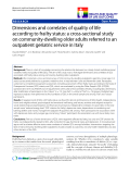 """báo cáo hóa học:"""" Dimensions and correlates of quality of life according to frailty status: a cross-sectional study on community-dwelling older adults referred to an outpatient geriatric service in Italy"""""""