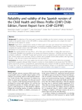 "báo cáo hóa học:"" Reliability and validity of the Spanish version of the Child Health and Illness Profile (CHIP) ChildEdition, Parent Report Form (CHIP-CE/PRF)"""