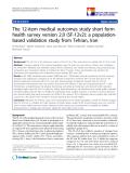 "báo cáo hóa học:"" The 12-item medical outcomes study short form health survey version 2.0 (SF-12v2): a populationbased validation study from Tehran, Iran"""