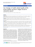 """báo cáo hóa học: """"  Can changes in health related quality of life scores predict survival in stages III and IV colorectal cancer?"""""""