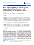 """báo cáo hóa học:""""  Measurement properties of physical function scales validated for use in patients with rheumatoid arthritis: A systematic review of the literature"""""""