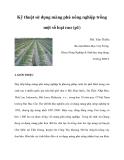 Kỹ thuật sử dụng màng phủ nông nghiệp trồng một số loại rau (p1)