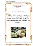 """Đề tài: """"Những giải pháp nâng cao chất lượng tín dụng tại chi nhánh Ngân Hàng Nông nghiệp và Phát triển Nông thôn tỉnh Hải Dương"""""""