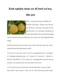 Kinh nghiệm chăm sóc để bưởi sai hoa, đậu quả
