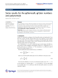 """Báo cáo toán học: """" Some results for the q-Bernoulli, q-Euler numbers and polynomials"""""""