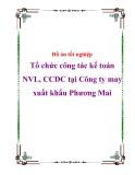 Đồ án tốt nghiệp kế toán : 'Tổ chức công tác kế toán NVL, CCDC tại Công ty may xuất khẩu Phương Mai'