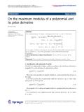 "Báo cáo hóa học: ""   On the maximum modulus of a polynomial and its polar derivative"""