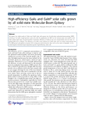 "Báo cáo hóa học: ""  High-efficiency GaAs and GaInP solar cells grown by all solid-state Molecular-Beam-Epitaxy"""