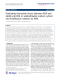 """Báo cáo hóa học: """"  Evaluating interaction forces between BSA and rabbit anti-BSA in sulphathiazole sodium, tylosin and levofloxacin solution by AFM"""""""