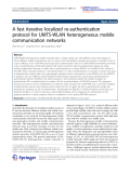 """Báo cáo hóa học: """"   A fast iterative localized re-authentication protocol for UMTS-WLAN heterogeneous mobile communication networks"""""""