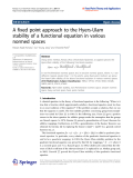 """Báo cáo hóa học: """" A fixed point approach to the Hyers-Ulam stability of a functional equation in various normed spaces"""""""